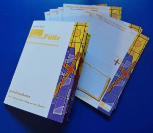 16 seitige A6 Broschüre mit Anregungen und Impulsen für die Benutzung der Gottesdienstkarten und ein Leben in Fülle aus dem Geist des Gottesdienstes.